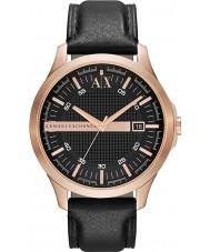 Armani Exchange AX2129 Mens rosa guld sort læderrem kjole ur