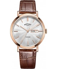Rotary GS05304-02 Mens ure windsor steg forgyldt brun læderrem ur