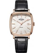 Rotary GS05309-01 Mens ure windsor steg forgyldt sort læderrem ur