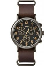 Timex TW2P85400 Weekender brun læder kronograf ur