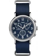 Timex TW2P71300 Weekender slip thru blå chrono ur