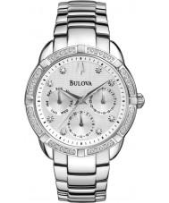 Bulova 96R195 Ladies diamant sølv stållænke kronograf ur