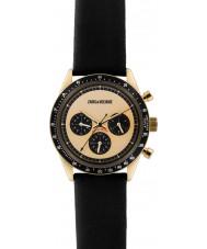 Zadig and Voltaire ZVM117 Master sort læder kronograf ur
