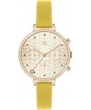 Orla Kiely OK2038 Ladies vedbend guld kronograf gul læderrem ur