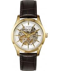 Rotary GS90526-06 Mens les originales automatisk skelet guld brun ur