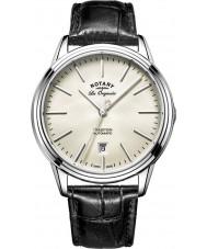 Rotary GS90161-32 Mens les originales tradition automatisk stål sort læderrem ur