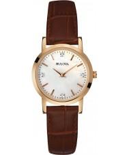 Bulova 97P105 Ladies diamant brun læderrem ur