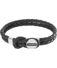 Emporio Armani EGS2178040 Mens signatur sort læder armbånd