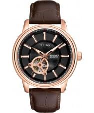 Bulova 97A109 Mens rosa guld brun mekanisk ur