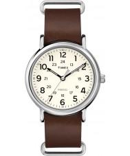 Timex T2P495 Weekender brun læderrem ur