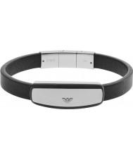Emporio Armani EGS2186040 Mens signatur sort læder armbånd