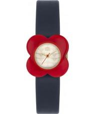 Orla Kiely OK2062 Ladies valmue rød blomst tilfælde navy læderrem ur