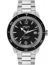 Rotary GB02694-04 Mens ure ocean hævner sort sølv stål ur