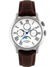 Rotary GS02838-01 Herre ure Månens fase brun læderrem ur