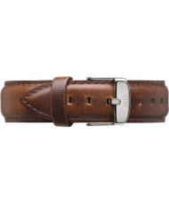 Daniel Wellington DW00200021 Mens klassiske St Mawes 40mm sølv lys brun læder reservedele rem