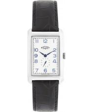 Rotary GS02697-21 Mens ure portland sølv sort læderrem ur