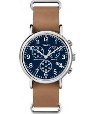 Timex TW2P62300 Weekender brun rem kronograf ur