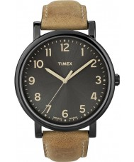 Timex T2N677 Mens Black tan klassiske runde ur