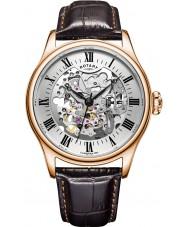 Rotary GS02942-01 Herre ure steg forgyldt brun skelet mekanisk ur