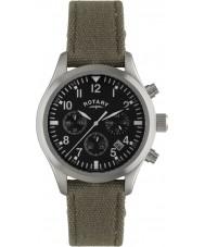 Rotary GS02680-19 Mens ure pilot kronograf khaki canvas rem ur