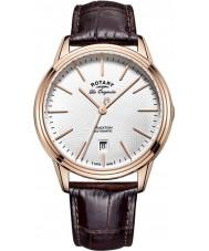 Rotary GS90164-02 Mens les originales tradition automatisk steg forgyldt brun læderrem ur