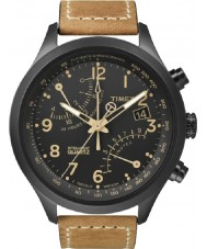 Timex T2N700 Mens Black tan fly-back kronograf ur