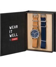 Timex TWG012800 Mens weekender tan læder og reservedele blå nylon kronograf ur gavesæt