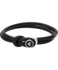 Emporio Armani EGS2212040 Mens signatur sort læder armbånd