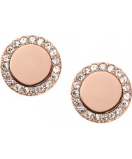 Fossil JF01792791 Ladies klassiske rosa guld stål spejlet stud øreringe