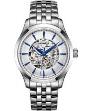 Rotary GB05032-06 Herre sølv tone stål skelet mekanisk ur