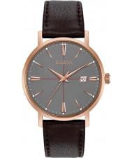 Bulova 97B154 Mens Aerojet mørk brun læderrem ur