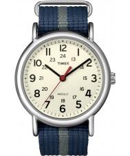 Timex T2N654 Mens blå grå Weekender slip gennem ur