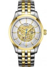 Rotary GB05033-06 Mens champagne to tone forgyldt skelet mekanisk ur