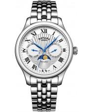 Rotary GB05065-01 Herre ure Månens fase sølv kronograf ur