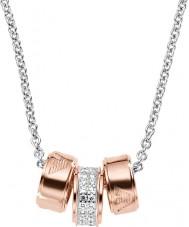 Emporio Armani EG3045040 Ladies signatur rosa guld halskæde med sølv rolo kæde