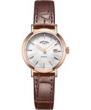Rotary LS05304-02 Ladies ure windsor steg forgyldt brun læderrem ur