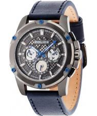 Police 14689JSU-13 Mens grid blå læderrem ur