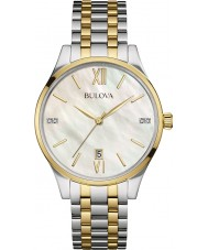 Bulova 98S149 Ladies diamant to tone stållænke ur