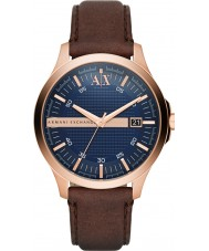 Armani Exchange AX2172 Mens kjole mørk brun læderrem ur