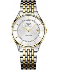 Rotary GB90801-02 Mens ultra slim to tone stållænke ur