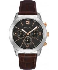 Bulova 98A142 Mens kjole brun læder kronograf ur