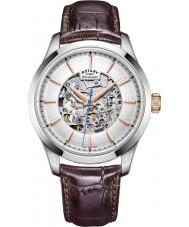 Rotary GS05032-06 Herre sølv tone brun skelet mekanisk ur