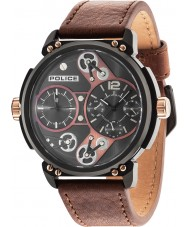 Police 14693JSB-12A MENS Steampunk brun læderrem ur