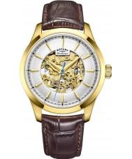 Rotary GS05035-03 Mens forgyldt brun skelet mekanisk ur