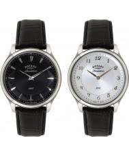 Rotary GS02965-04-22 Mens åbenbaring sort læderrem ur med vendbar dial