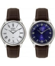 Rotary GS02965-05-21 Mens åbenbaring brun læderrem ur med vendbar dial