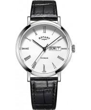 Rotary GS05300-01 Herre ure windsor stål sort læderrem ur